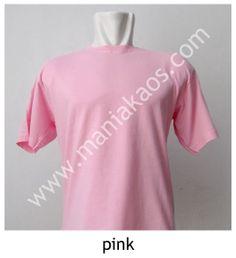Kaos O-neck Lengan Pendek Pink.