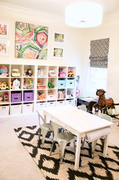 My kids bright and cheery playroom! Love the ikea toy storage and colorful bold print on the wall! They love this playroom! Ikea Toy Storage, Kids Storage, Storage Ideas, Office Storage, Bedroom Storage, Storage Design, Daycare Storage, Large Toy Storage, Storage Organizers
