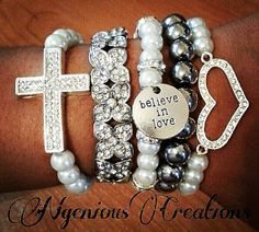 N'Genious Creations Exclusive Diamonds and Pearls Stretch Bracelet Set by NGeniousCreations, $25.00