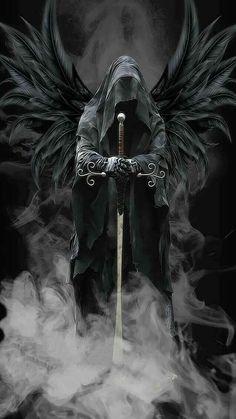 angel of death black wings hooded face sword, grim reaper angel of death black wings hooded face sword, grim reaper Grim Reaper Art, Grim Reaper Tattoo, Dark Fantasy Art, Dark Art, Evvi Art, Archangel Tattoo, Knight Tattoo, Warrior Tattoos