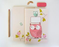 NOTEBOOK  Owls by SeaUrchinStudio on Etsy
