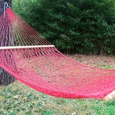 """Spend a relaxing evening in your backyard or soak up the sun by the pool in this essential hammock, featuring cranberry-hued openwork netting and oak wood accents.    Product: Hammock   Construction Material: Macrame olefin, oak, and steel   Color: Cranberry   Features:  Supports up to 450 lbs   Fits hammock stands that are 15' long    Dimensions: 60"""" W x 162"""" D   Note: Stand not included"""