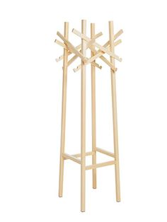 Nest - Clothes Rack  TAF Gabriella Gustafson & Mattias StåhlbomInspired by the woodworks of dilettantes, this coat stand builds on the principle of organized chaos. Like a birds nest. The asymmetrically arranged beams serve as hooks and pegs to provide a multitude of opportunities for hanging up coats, hats, etc. Nest comes in freestanding or wall-mounted versions in oak, birch and eight standard colors.