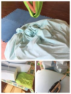 This indoor swing and crash pad is an easy DIY project that your kids will love! Sensory Diet, Sensory Toys, Sensory Activities, Activities For Kids, Sensory Swing, Kids Indoor Play, Indoor Swing, Busy Bags, Kids Patterns