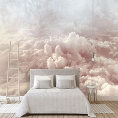 Hand Painted Abstract Clouds Wallpaper Wall Mural, Rendering Colorful Pink/Blue Clouds Wall Mural, C