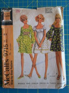 Vintage 1960s Sewing Pattern McCalls 9715 Womens & Juniors Dress, Empire Waist Pullover Boho Hippie Peasant Dress. Raglan. Size 14. Bust 36.