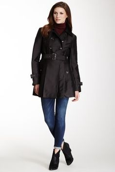 Kenneth Cole New York Belted Double Breasted Trench Coat