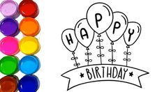 birthday easy happy drawings drawing colors cards learn water wishes watercolor learning jf studios