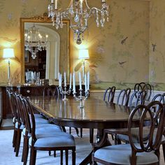 Pretty wallpaper, gold/blue color scheme, combo of mirror/table lamps, chandelier, candelabras, wallpaper, wood paneling