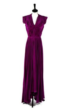 Madame Gres purple draped silk jersey evening gown, circa 1945 mid 40s war era glam