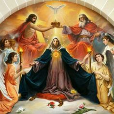 The crowning of the queen of heaven, our dear Blessed mother Mary Jesus Mother, Blessed Mother Mary, Blessed Virgin Mary, Catholic Pictures, Jesus Pictures, Religious Images, Religious Art, San Uriel, Father Son Holy Spirit