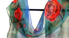 Painted Silk, Hand Painted, Chiffon Scarf, Silk Scarves, Flute, Scarlet, Poppies, Artwork, Painting