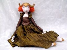 ART DOLL.  OOAK cloth doll with dark green soft sculpture. Valentine's day style. $105.00, via Etsy.
