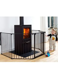 Buy your BabyDan Hearth Gate - Black - 60 - 300cm from Kiddicare Fire Guards| Online baby shop | Nursery Equipment