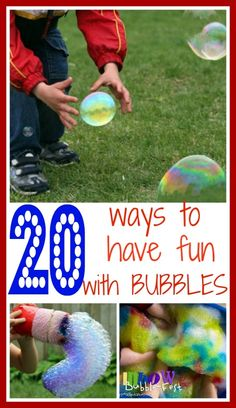 A collection of bubbles activities - recipes, play and DIY wands.