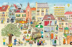 Wiosna na ulicy Czereśniowej - Wydawnictwo Dwie Siostry Illustrator, French Class, Naive Art, Holiday Decor, Drawings, Kids, Painting, Puzzles, Artists