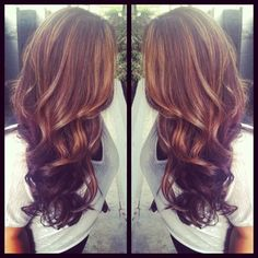 If I ever color my hair, this is what I would do: Light brown highlights & dark brown lowlights, thick curls and long layers. Maybe when my hair gets a little longer Love Hair, Great Hair, Gorgeous Hair, Ivana Trump, Auburn Balayage, Hair Highlights, Brown Highlights, Caramel Highlights, Peekaboo Highlights
