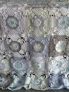 Rustic Lace Square Throw WIP crochet throw
