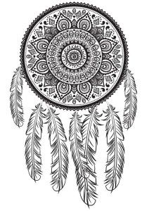 Dream Catcher Printable Coloring Page Adult by MoonDrawArts Art