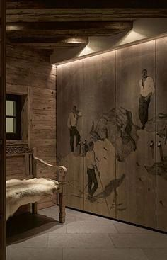 Beautiful Interiors - Chalet Rustic Modern Home - Busyboo. The bench is beautiful. Don't really like the mural! Chic Chalet, Chalet Style, Lodge Style, Chalet Design, Bar Design, Chalet Interior, Modern Interior, Interior Design, Alpine Chalet