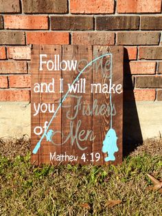 Bible verse fishers of men hand painted pallet sign