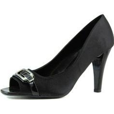 Women's Nature Breeze Savana-01 Black Satin Peep Toe Pumps Shoes, Black