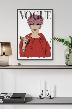 A new addition to our collection of fashion prints. Interior Walls, Interior Design, Vintage Vogue Covers, Wall Decor, Wall Art, Fashion Prints, Decor Styles, Etsy Seller, Interiors