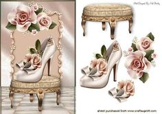 PRETTY SHOE WITH PEACH ROSES ON A STOOL on Craftsuprint designed by Nick Bowley - PRETTY SHOE WITH PEACH ROSES ON A STOOL , Makes a pretty card, lots of other designs to see - Now available for download!
