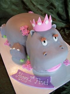 Hippo Birthday Cake Topper