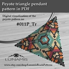 Peyote triangle patterns, pattern for triangle pendant, peyote pattern, bead pattern, beading, peyote stitch, PDF format / pattern only. This is a DIGITAL product, no physical goods will be sent! (Materials are NOT included!) Miyuki Delica Beads size 11/0 7 bead colors. Side