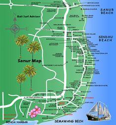 Sanur, Bali, Denpasar, City, Map