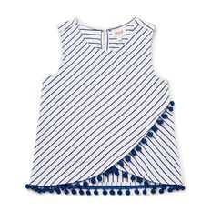 Sleeveless split front tank features yarn dyed stripe with pom pom trim on hem. Available in Seaside Blue and Cherry Red. Girls Summer Outfits, Dresses Kids Girl, Teen Fashion Outfits, Kids Outfits, Kids Blouse Designs, Kurti Neck Designs, Simple Gown Design, Baby Frocks Designs, Stylish Dress Designs