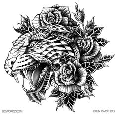 Ornate Leopard by BioWorkz - would be an awesome thigh tattoo