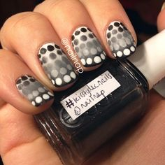 Polka dots meets ombre...greyscale never looked so cool. (leistydecnails for Nail Nap)