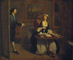 Joseph Highmore (1692‑1780)  Title  I: Mr B. Finds Pamela Writing  From Four Scenes from Samuel Richardson's 'Pamela'  Date 1743-4  MediumOil paint on canvas  Dimensionssupport: 651 x 759 mm frame: 825 x 955 x 120 mm  Collection  Tate  Acquisition Purchased 1921  Reference  N03573