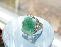 Art Deco Carved Peking Glass Sterling Silver Ring Faux Jade Filigree Setting Size 4.5 Antique by Oldtreasuretrunk on Etsy