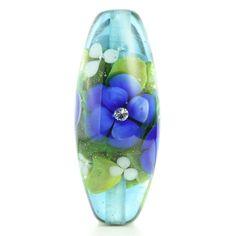 Cobalt Floral Glass Bead....Handmade by Highland by HighlandBeads