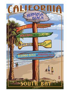 pismo beach california destination sign lantern press artwork