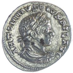 Elagabalus Denar, Av: ANTONINVS PIVS FEL AVG, belorbeerte, drapierte und kürassierte Büste nach rechts, Rv: FELICITAS / TEMP, Galeere nach rechts