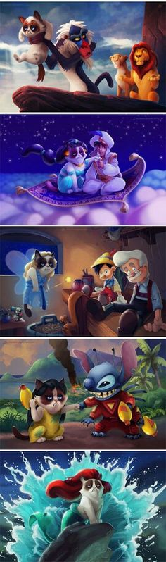 Funny pictures about If Grumpy Cat was the star of Disney movies. Oh, and cool pics about If Grumpy Cat was the star of Disney movies. Also, If Grumpy Cat was the star of Disney movies. Film Disney, Disney Art, Walt Disney World, Disney Pixar, Disney Frozen, Disney Ideas, Humour Disney, Funny Disney Memes, Disney Quotes