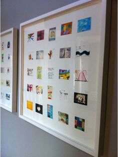 Scan childrens art work and then print out in smaller size. Frame. Now make art gallery in hallways of your childrens art:). Awesome idea, even for my grown young adults to have all of the kept keepsakes of their artwork in one frame. Good Christmas or Birthday gift.