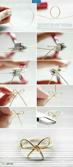 DIY Roundup: 7 Fun and Easy DIY Ring Tutorials wire bow ring – I've done this before! A cute and inexpensive idea, which also goes good with any outfit! The post DIY Roundup: 7 Fun and Easy DIY Ring Tutorials appeared first on DIY Crafts. Diy Bracelets And Rings, Bow Rings, Diy Bracelets Metal, Diy Napkin Rings, Cuff Bracelets, Diy Rings Tutorial, Bow Tutorial, Photo Tutorial, I Spy Diy