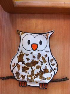uil bekleven met herfstblaadjes Owl Crafts, Animal Crafts, Art For Kids, Crafts For Kids, Arts And Crafts, Happy Animals, Cute Owl, Happy Kids, Activities For Kids