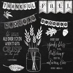 Fall Autumn Chalkboard Elements and by JubileeDigitalDesign, $5.00
