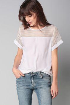 Top blanc texturé Sweewë sur MonShowroom.com