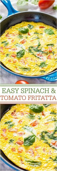 There are lots of different frittata recipes here. Easy Spinach and Tomato Frittata - Ready in 10 minutes and healthy! Perfect for any meal! Great for using up odds-and-ends veggies, too! Breakfast Desayunos, Breakfast Dishes, Healthy Breakfast Recipes, Brunch Recipes, Vegetarian Recipes, Healthy Eating, Healthy Recipes, Breakfast Ideas, Vegetarian Bacon