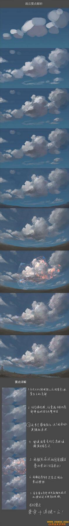 New Digital Art Tutorial Sky Ideas Digital Painting Tutorials, Digital Art Tutorial, Art Tutorials, Doodle Drawing, Cloud Drawing, Cloud Art, Poses References, Process Art, Painting Process