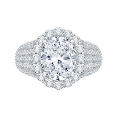 Five row pave halo diamond engagement ring available at Emma Parker & Co.
