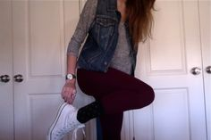 Jean vest, colored skinnies, converse & a tee