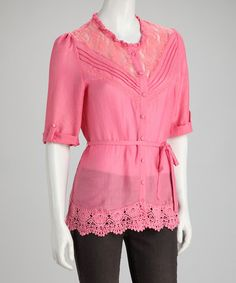 Take a look at this Coral Sheer Lace Button-Up Top by Ruby Rose on #zulily today! $11.99, regular 22.00